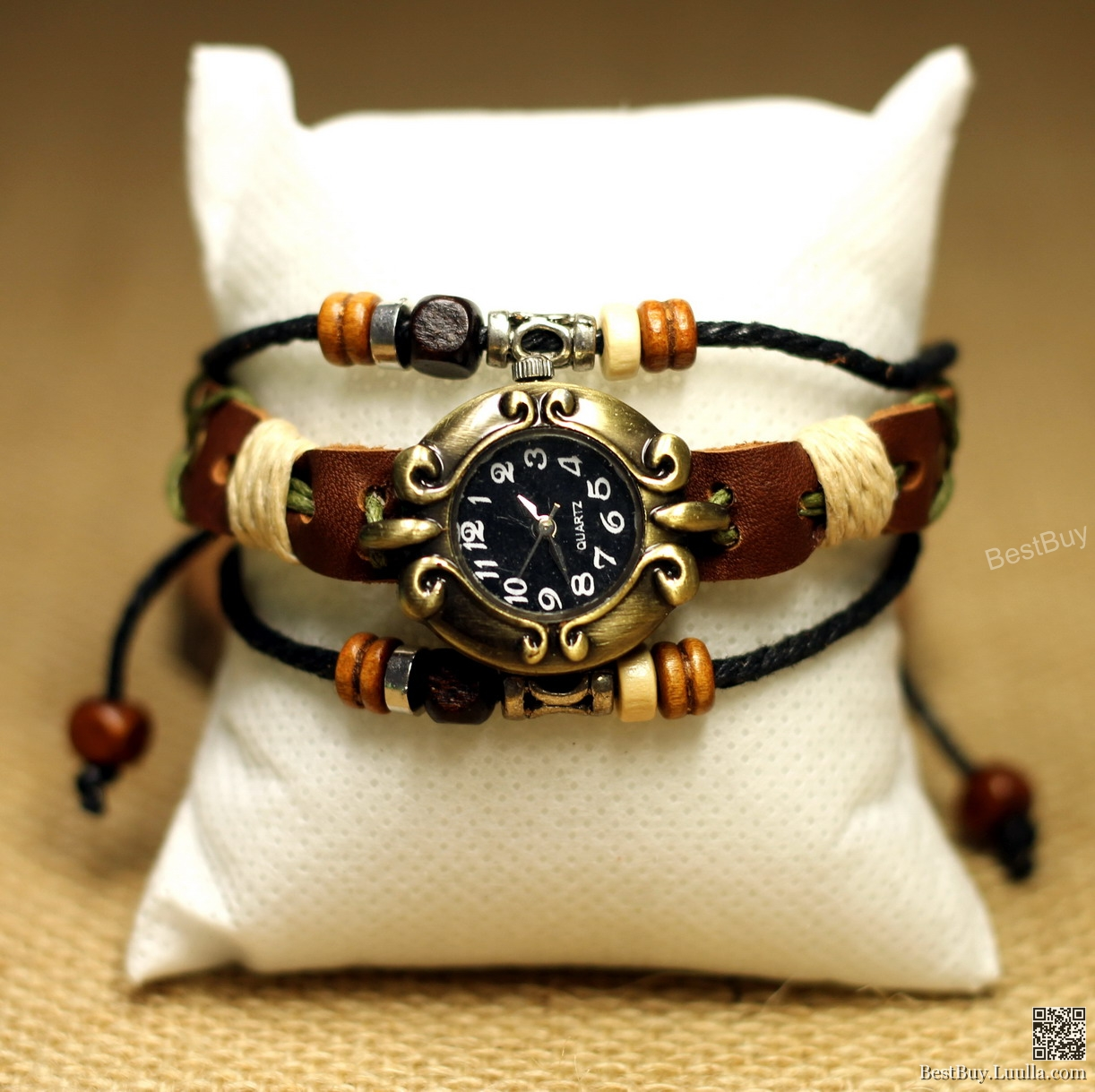 Women Watches Bracelet Wristwatch Vintage Girls Watches Folk Beaded Leather Watch